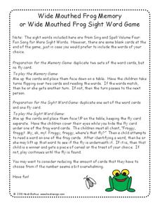 Wide Mouthed Frog Memory or Wide Mouthed Frog Sight Word Game Activities & Project