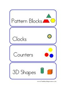 Math Center Labels Printables & Template