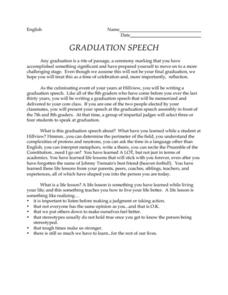 Graduation Speech Activities & Project
