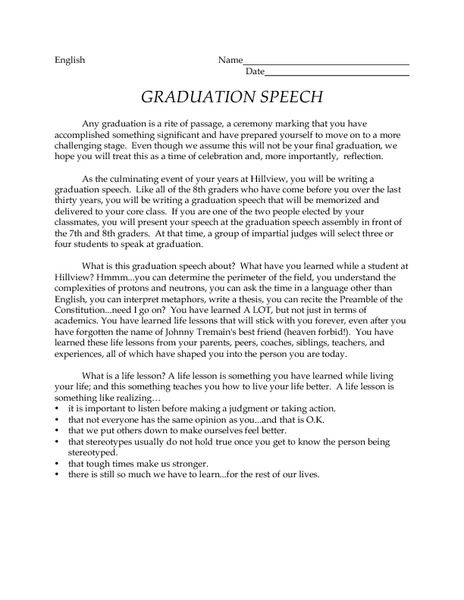 Graduation Speech 6Th - 12Th Grade Activities & Project | Lesson