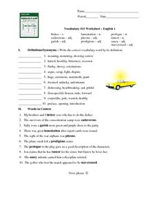 vocabulary 15 worksheet � english 1 worksheet for 7th