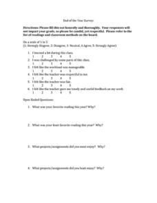 End of the Year Survey Worksheet