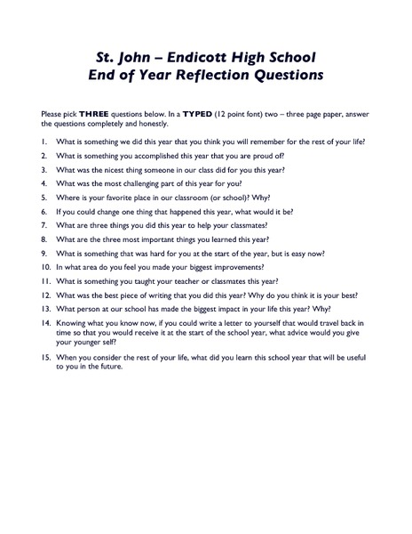 End of Year Reflection Questions Worksheet