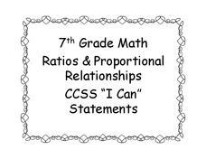 "7th Grade Math ""I Can"" Statement Posters Printables & Template"