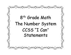 "8th Grade Math ""I Can"" Statement Posters Printables & Template"