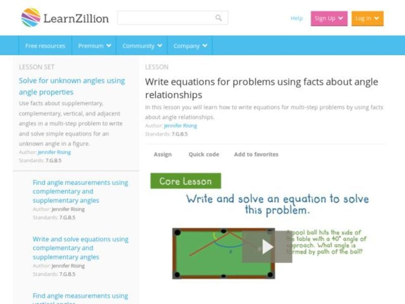 Write Equations for Problems Using Facts about Angle Relationships Video