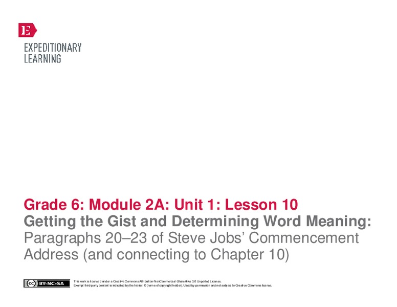 Getting the Gist and Determining Word Meaning: Paragraphs 20–22 of Steve Jobs' Commencement Address (Lesson 10) Lesson Plan