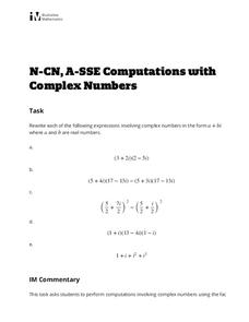 Computations with Complex Numbers Activities & Project