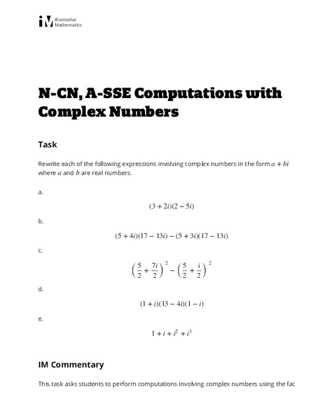 Computations with Complex Numbers Activities & Project for