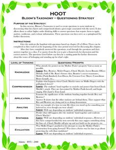 Hoot: Bloom's Taxonomy- Questioning Strategy Activities & Project