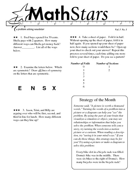 Math Stars: A Problem-Solving Newsletter Grade 3 Worksheet