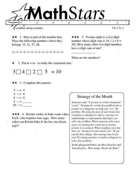 Math Stars: A Problem-Solving Newsletter Grade 2 Worksheet ...