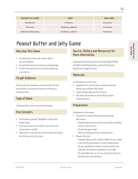 Peanut Butter and Jelly Game Lesson Plan