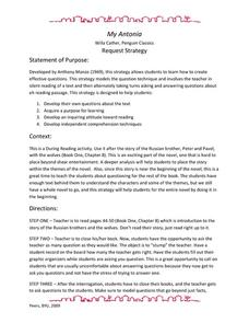 My Antonia: Request Strategy Lesson Plan