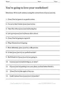 in addition Contraction Worksheets Contractions Worksheet 4 Grade Free as well  likewise  furthermore  moreover  likewise There their they Re Worksheet   Mychaume also Words often confused   Your and You're   English Unite likewise Your You Re Worksheet Works   Kidz Activities in addition 7 Free Law of Attraction PDF Worksheets To Download   Print moreover your and you re worksheet – coolmathsgames info likewise your  you're  there  their  they're  its  it's worksheet by Sunny in together with Basic Grammar  Your or You're Worksheets by The Dollar Spot   TpT also 7th Grade Math Worksheets – Page 233 – Kaliz co additionally Your You Re Worksheet   Siteraven furthermore Your You're Worksheet   Freeology. on your and you re worksheet