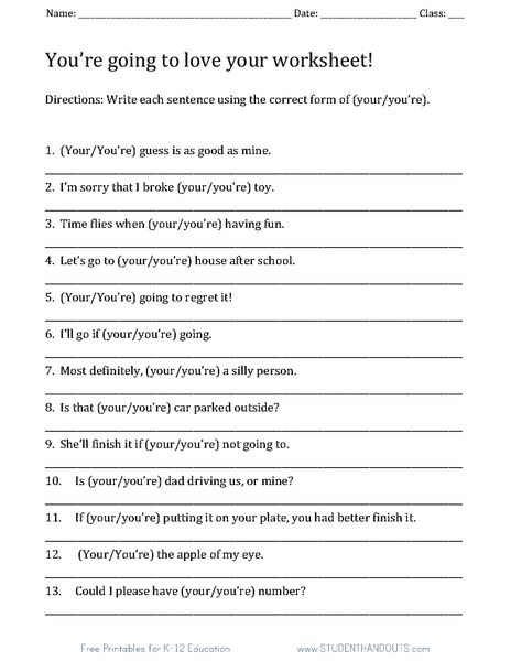 Your/You're Worksheet Worksheet for 3rd - 5th Grade | Lesson Planet