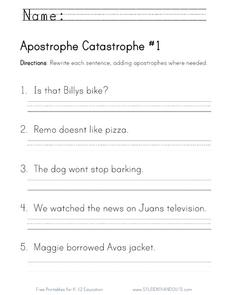 Apostrophe Catastrophe Worksheet