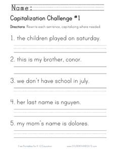 Capitalization Challenge Worksheet For