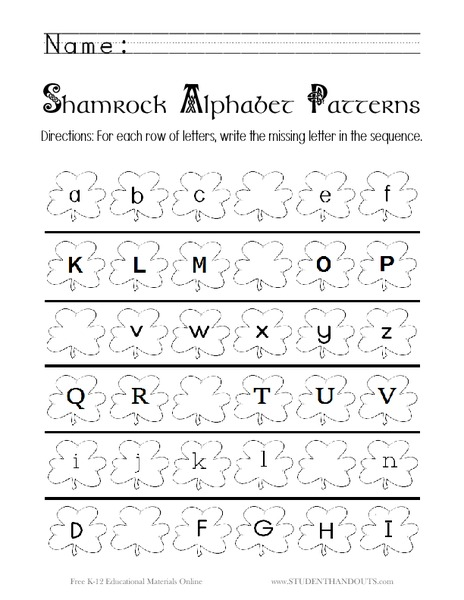 Shamrock Alphabet Patterns Worksheet