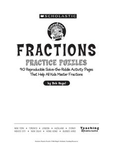 Fractions Practice Puzzles Workbook