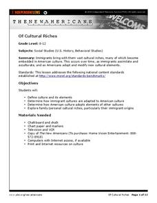 Of Cultural Riches Lesson Plan