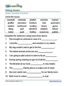 Using Nouns (Grade 3) Worksheet
