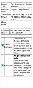 Fun Kindergarten Literacy Activities Lesson Plan