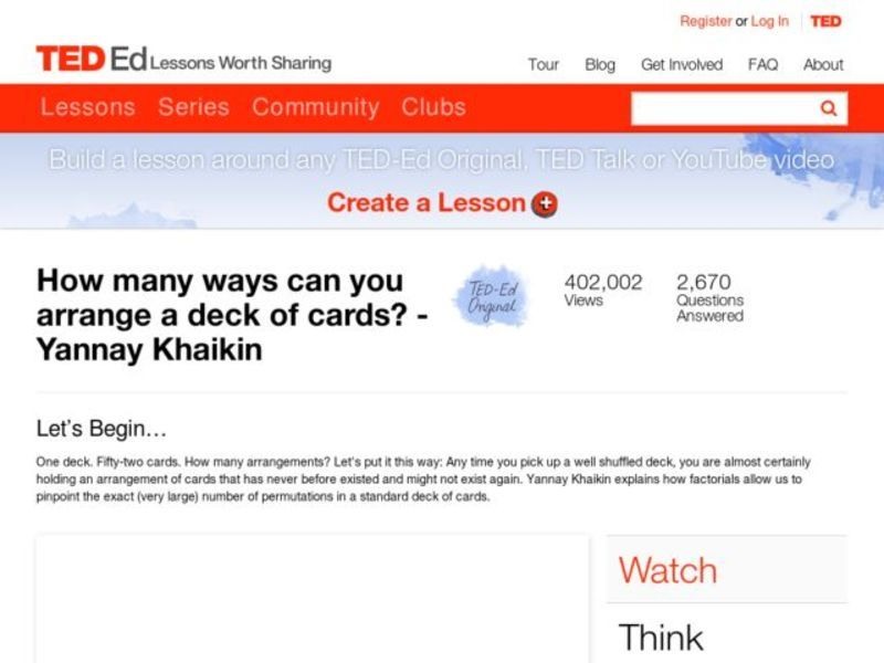 How Many Ways Can You Arrange a Deck of Cards? Lesson Plan