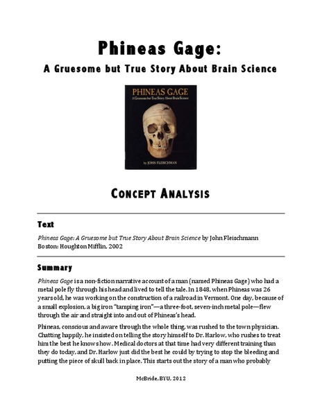 Phineas Gage: Concept Analysis Activities & Project