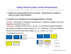 Adding Mixed Numbers (Unlike Denominators) Worksheet