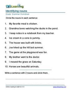 Identifying Nouns Grade 2 Worksheet For 2nd Grade Lesson Planet