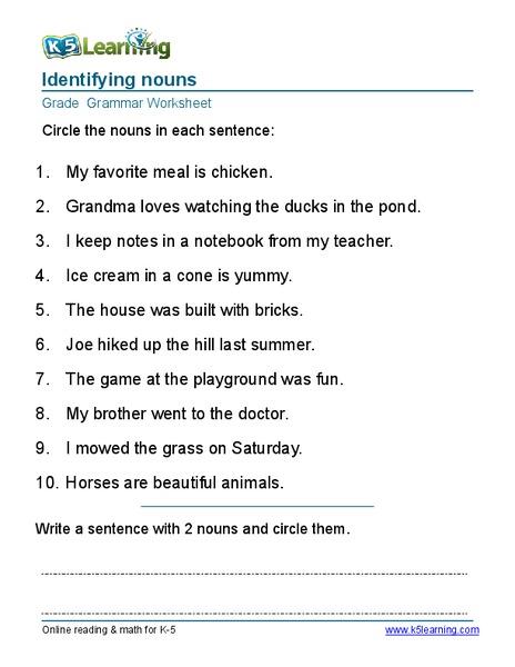 identifying nouns grade 2 worksheet for 2nd grade lesson planet. Black Bedroom Furniture Sets. Home Design Ideas