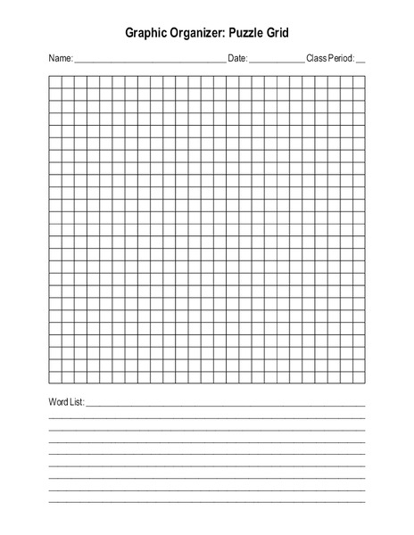 blank crossword or word search puzzle grid printables