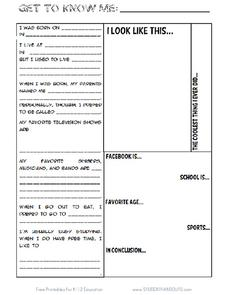 Get to Know Me Sheet Printables & Template