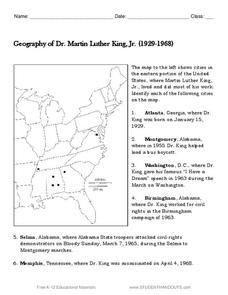 Geography of Dr. Martin Luther King, Jr. Worksheet