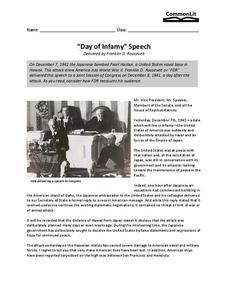 """Day of Infamy"" Speech Worksheet"