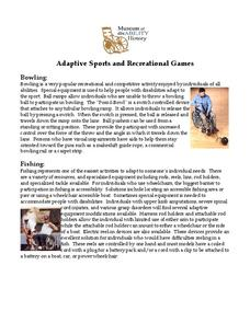 Adaptive Sports and Recreational Games Handouts & Reference