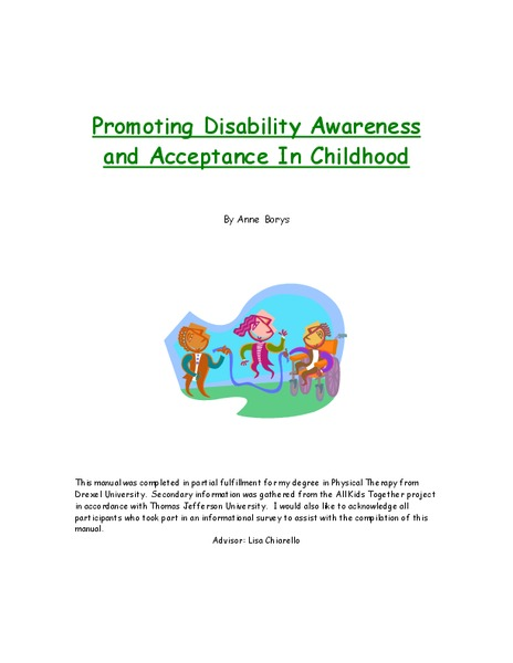 Promoting Disability Awareness and Acceptance in Childhood Activities & Project