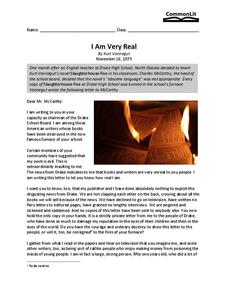 I Am Very Real Worksheet for 11th - 12th Grade | Lesson Planet