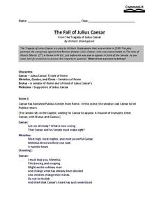 The Fall of Julius Caesar Worksheet