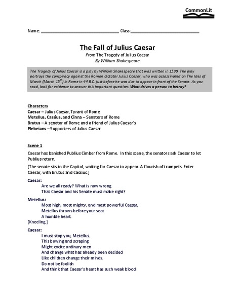 The Fall Of Julius Caesar Worksheet For 9th 10th Grade