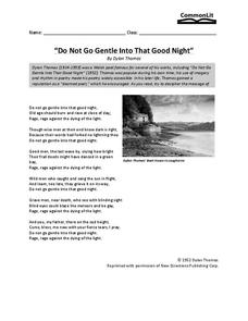 """Do Not Go Gentle Into That Good Night"" Worksheet"