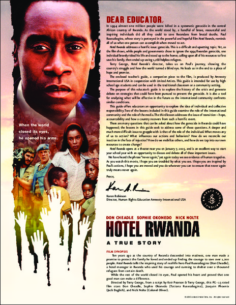 Hotel Rwanda Teacher's Guide Activities & Project