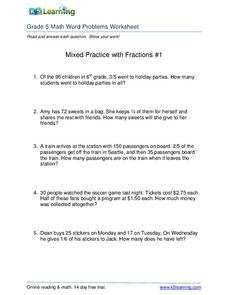 Mixed Practice with Fractions Worksheet