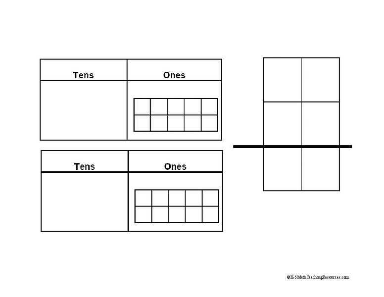 2-Digit Addition Template Printables & Template