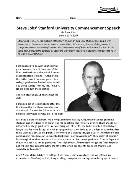 Steve Jobs' Stanford University Commencement Speech Worksheet