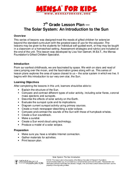 The Solar System: An Introduction to the Sun Lesson Plan