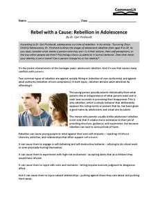 Rebel with a Cause: Rebellion in Adolescence Worksheet