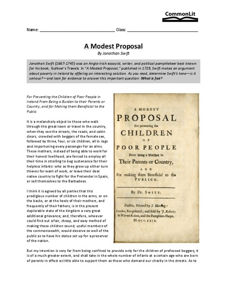 A Modest Proposal Worksheet For 11th Higher Ed Lesson Planet