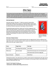Alter Egos Worksheet